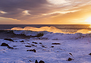 Spain, Canary Islands, La Gomera, Valle Gran Rey, surf at sunset - SIEF006957