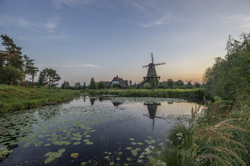 Germany, Gifhorn, Museum, International Wind- and Watermill Museum in the evening - PVC000762