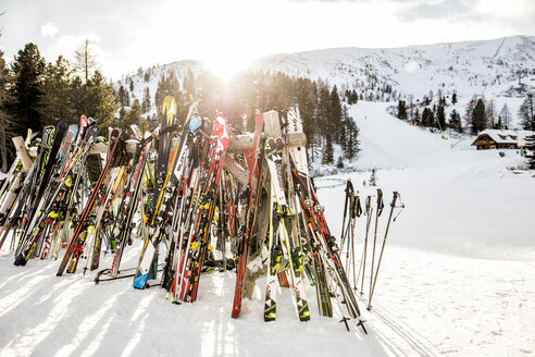 Austria, Turracher Hoehe, lots of skis in winter landscape - DAW000518