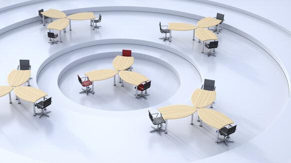 Round open-plan office, 3D Rendering - UWF000769