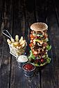 Extra large hamburger with fries, mayonnaise and ketchup - CSF027187