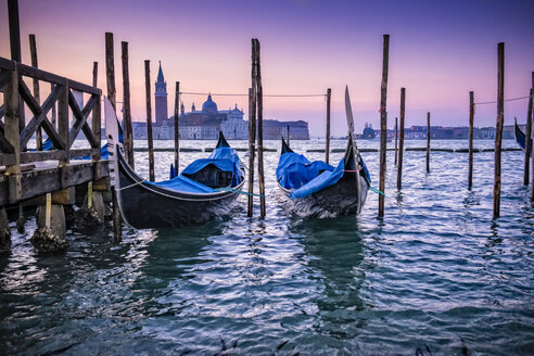 Italy, Venice, two moored gondolas at twilight - HAMF000145
