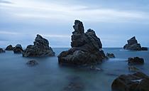 Spain, Costa Brava, Lloret de Mar, rock formations at Cala dels Frares - SKCF000059