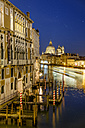 Italy, Venice, view to lighted Santa Maria della Salute by night - HAMF000164