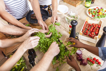 Friends in kitchen plucking leaves from herbs - FMKF002285