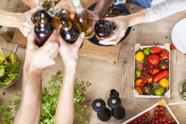 Friends clinking beer bottles in kitchen - FMKF002297