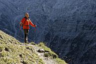 Austria, Tyrol, Karwendel, hiker on trail - LBF001385