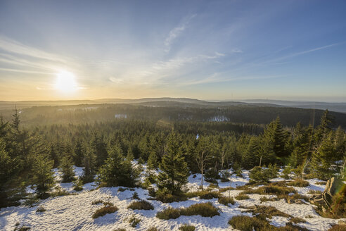 Germany, Saxony-Anhalt, Harz National Park in winter in the evening - PVCF000784