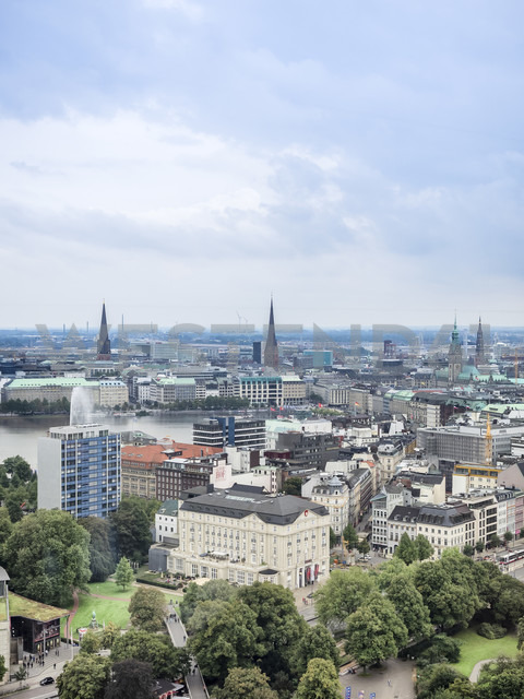 Germany, Hamburg, cityscape with Binnenalster and steeples - KRPF001731
