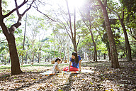 Mother and daughter sitting on a blanket in the park playing together - VABF000203