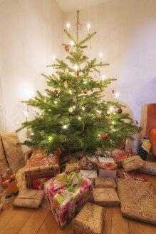 Lighted Christmas tree and Christmas presents - SHF001887