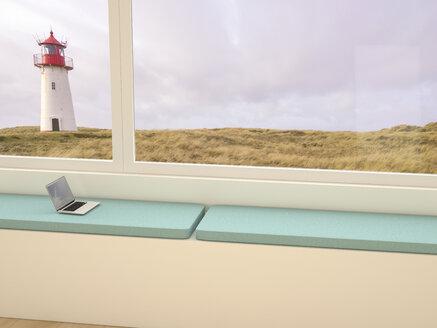 Windowsill with laptop, looking through window to dune landscape - UWF000783