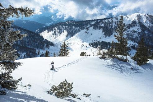 Austria, Salzburg State, Osterhorngruppe, Braunedelkogl, hiker in winter - HAMF000171
