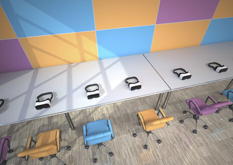 Row of Virtual Reality Glasses in a modern presentation room, 3D Rendering - ALF000683