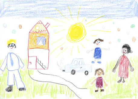 child's drawing, mixed-race family with house and car - CMF000356