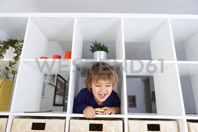 Portrait of playful boy in shelf - VABF000274