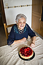 Senior woman celebrating her ninetieth birthday - RAEF000932