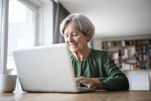 Portrait of senior woman using laptop at home - RBF004179