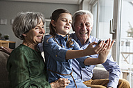 Little girl taking selfie with her grandparents at home - RBF004203