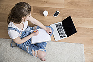 Young woman sitting on the floor with laptop and clipboard making notes - FMKF002514