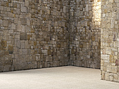Empty room with natural stone walls - UWF000792