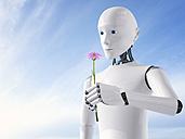 3D Rendering, Roboter holding flower - AHUF000118