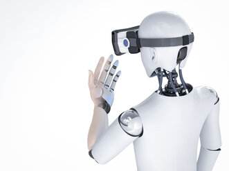 3D Rendering, Roboter with virtual reality glasses - AHUF000121