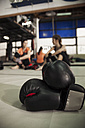 Boxing gloves and female boxers taking a rest - ZEDF000066