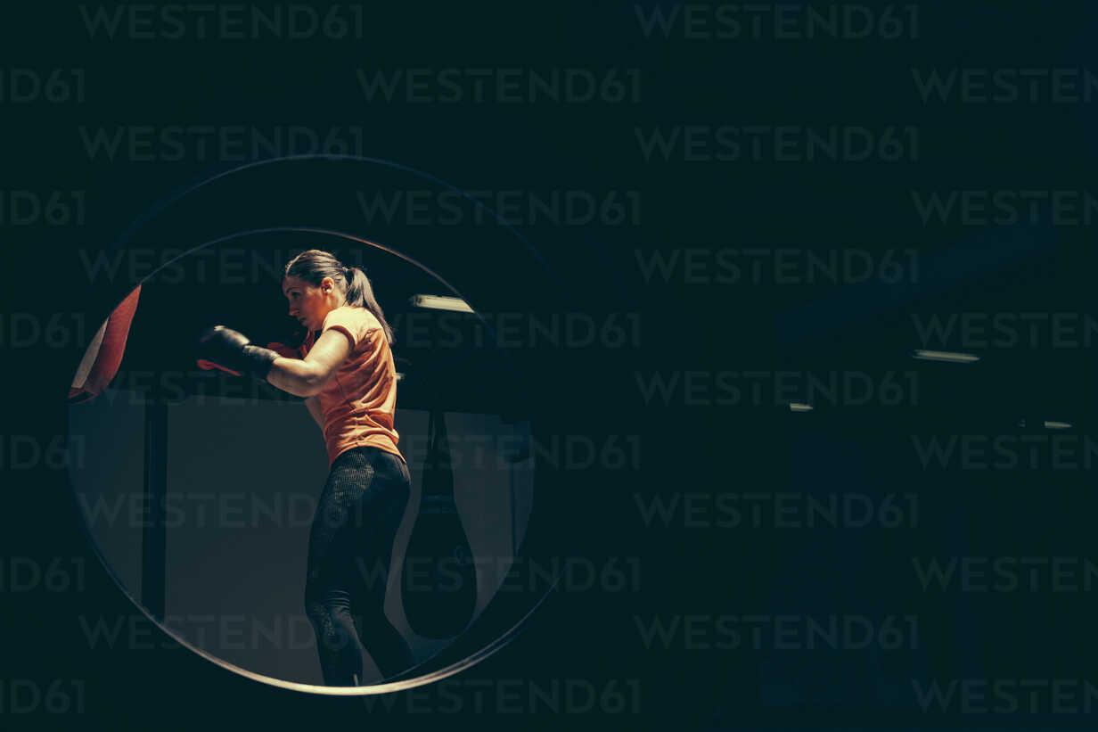 Female boxer exercising at punch bag - ZEDF000078 - Zeljko Dangubic/Westend61