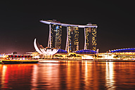 Singapore, view to Marina Bay Sands Hotel at night - LEF000003