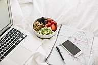 Laptop, notepad, fruit bowl and smartphone with earphones on blanket - EBSF001262