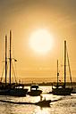 Italy, Sicily, Siracuse, boats at marina at sunset - CSTF001018