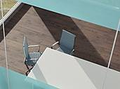 Office with desk and two tables seen from above, 3D Rendering - UWF000803