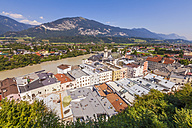 Austria, Tyrol, Rattenberg, townscape with River Inn - WDF003561