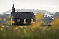 Iceland, Budir, view to black church - PAF001657