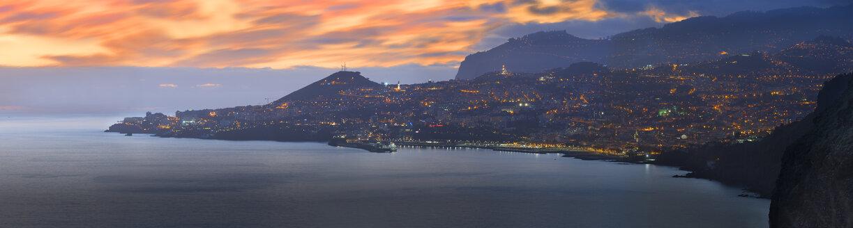 Portugal, Madeira, panoramic view, Funchal at sunset - MKFF000271