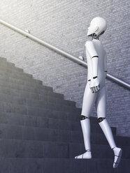 Robot walking upstairs, 3d rendering - AHUF000124