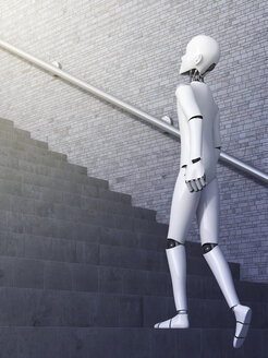Robot walking upstairs, 3d rendering - AHUF000124