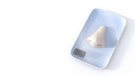 Nose on tray with barcode, 3d rendering - AHUF000127