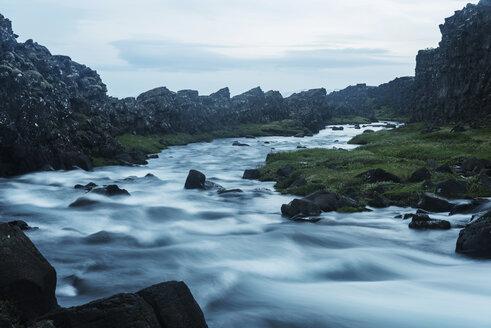 Iceland, Thingvellir National Park, cataracts at waterfall Oexararfoss - PAF001674