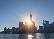 USA, New York City, Manhattan, view to financial district at backlight - HSIF000413