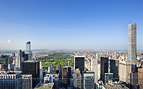 USA, New York City, view to Midtown Manhattan and Central Park from above - HSIF000425