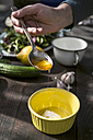 Spring salad, making of dressing with honey, yoghurt and lemon, hand with spoon and honey - DEGF000703