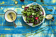 Spring salad of baby spinach, herbs, arugula and lettuce, dressing of yogurt, olive oil, honey and lemon - DEGF000709