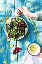 Spring salad of baby spinach, herbs, arugula and lettuce, arranging dressing of yogurt, olive oil, honey and lemon - DEGF000712