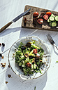 Greek salad with arugula, cheece, olives, tomatoes, cucumber, onion and caramelized nuts - DEGF000733