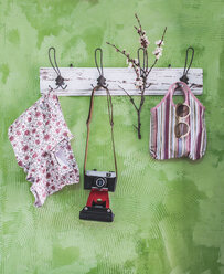 Sping items and old camera on wall coat rack - DEGF000750