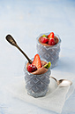 Glasses of Mousse au Chocolat garnished with raspberries, strawberries and hardy kiwi - MYF001412
