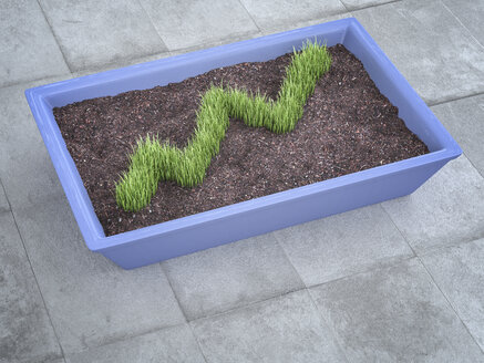 3D Rendering, diagram of grass in plant pot - AHUF000130