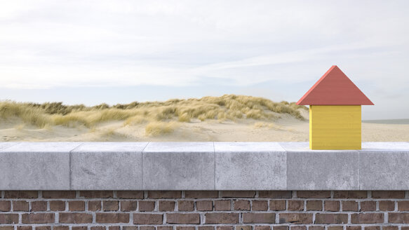 3D Rendering, wooden house on windowsill, beach in the background - AHUF000133